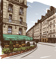 Hand drawn paris cityscapes vector
