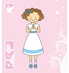Girl first communion vector