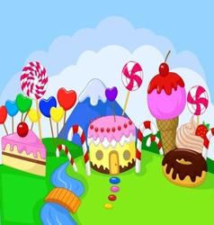 Cartoon fantasy sweet food land vector