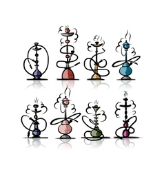 Hookah set sketch for your design vector