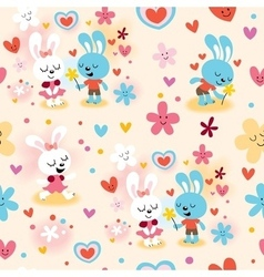 Cute bunnies in love seamless pattern vector