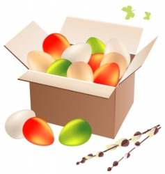 box full of Easter eggs vector image