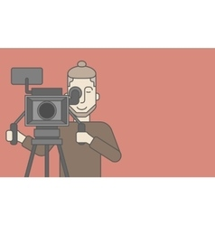 Cameraman with beard looking through movie camera vector
