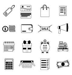 Set of black flat shopping icons sale vector