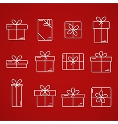 Thin line icons of gift boxes vector