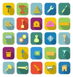 Construction color icons with long shadow vector