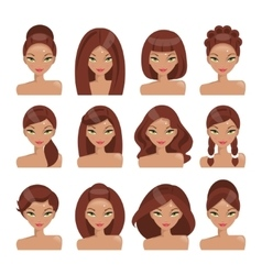 Set of girls with different hairstyles vector