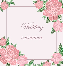Greeting card with peonies vector