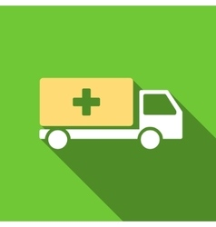 Medical shipment flat long shadow square icon vector
