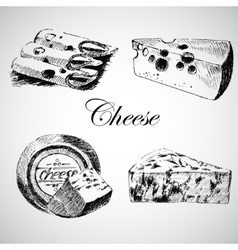 Cheese sketch drawing designer template vector