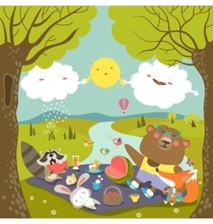 Animals at picnic in forest vector
