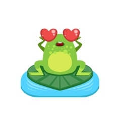 Cartoon frog character in love vector