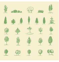 Hand drawing tree set vector
