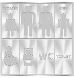 Aluminium Toilet Sign Men and Women WC plate vector image