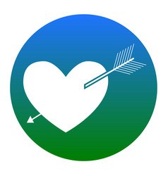 arrow heart sign white icon in bluish vector image vector image