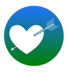 Arrow heart sign white icon in bluish vector