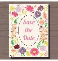 Autumn wedding invitation vintage on wooden vector