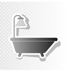 Bathtub sign new year blackish icon on vector