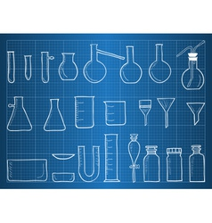 Blueprint of chemical laboratory equipment vector image vector image