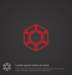 Diamond outline symbol red on dark background logo vector