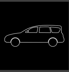 Family car white color path icon vector