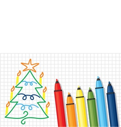 fir and pencil vector image