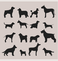 funny cartoon dog character bread black silhouette vector image