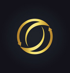 gold arrow circle abstract logo vector image vector image