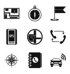 Gps tracking icons set simple style vector