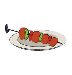 Kebab meats on sticks food icon image vector