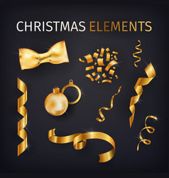 kit of golden celebration decor elements luxury vector image vector image