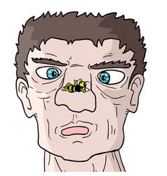 Man and wasp vector