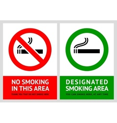 No smoking and Smoking area labels - Set 13 vector image vector image
