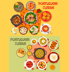 Portuguese cuisine seafood dinner menu icon set vector