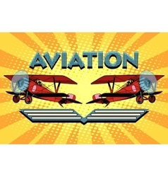 Retro two-winged plane aviation poster vector
