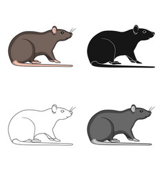 Rodent rat single icon in cartoonblackoutline vector