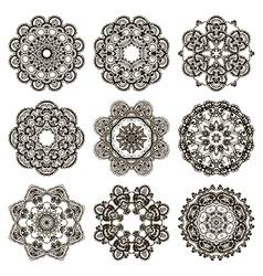 Round mehndi henna patterns drawn doodle set vector