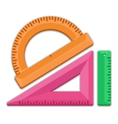 ruler triangle protractor vector image