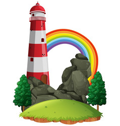 Scene with lighthouse and rainbow vector