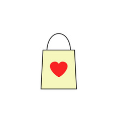 Shopping bag with heart solid icon vector