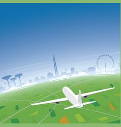 singapore skyline flight destination vector image