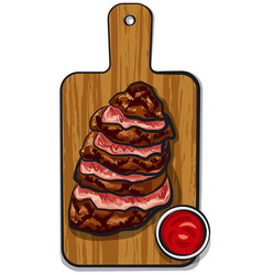 Sliced beef steaks vector