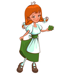 St patricks day irish red haired girl holding vector