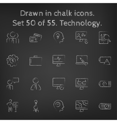 Technology icon set drawn in chalk vector image