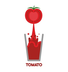 Tomato squeeze into glass Fresh tomato juice vector image
