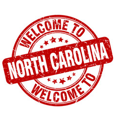 Welcome to north carolina red round vintage stamp vector