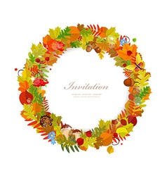 Wreath of autumn leaves for you design vector image
