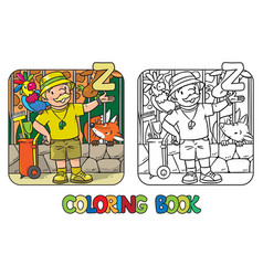 Zoo keeper coloring book profession abc alphabet z vector