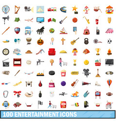 100 entertainment icons set cartoon style vector