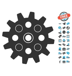 Gearwheel icon with free bonus vector